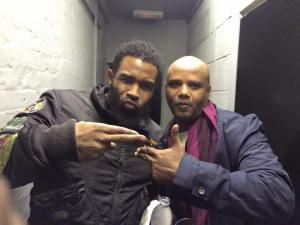 Photo courtesy of Dee Jay Kingstun (pictured right) with Pharoahe Monch